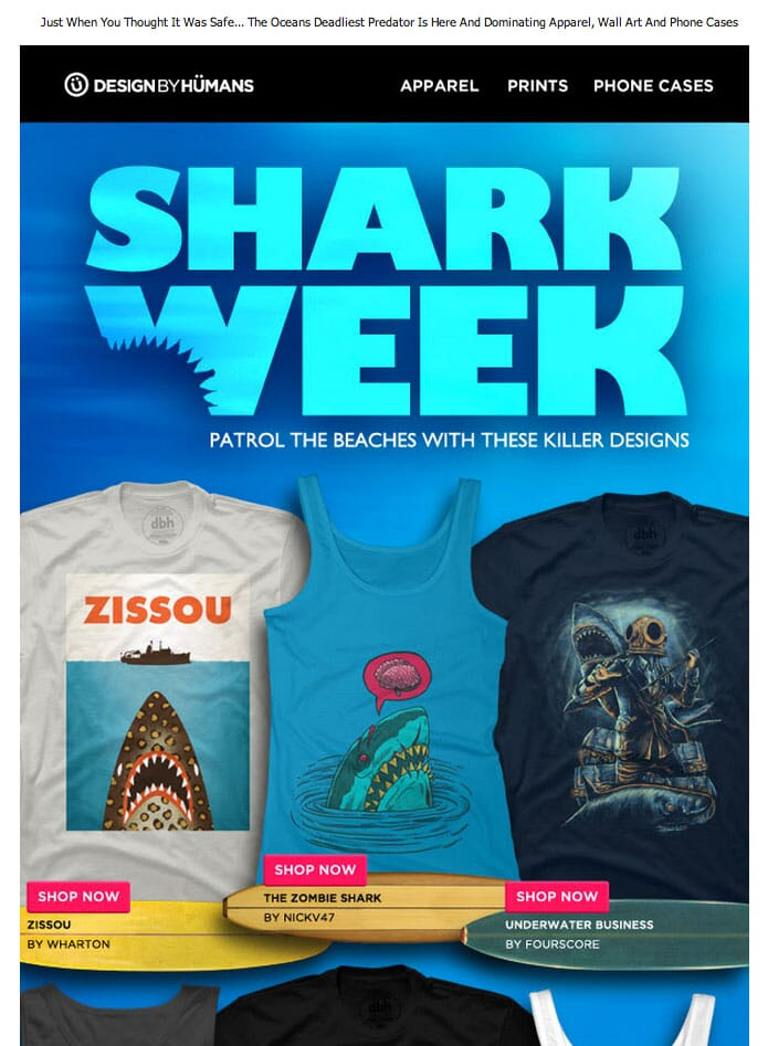 Zombie Shark is featured on Design By Humans Shark Week promotion