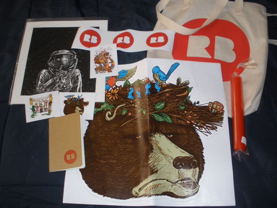 Redbubble swag from the Chicago meetup
