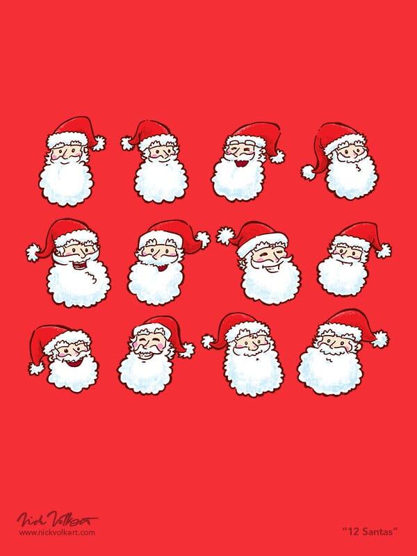 Twelve happy Santa Claus faces.