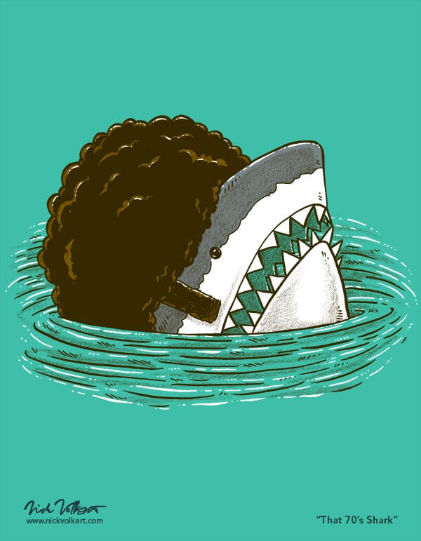 A shark peeks out of the water with a huge 1970s afro and sideburns.