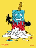 A three color popsicle monster with arms and a face meleting in front of the viewer.