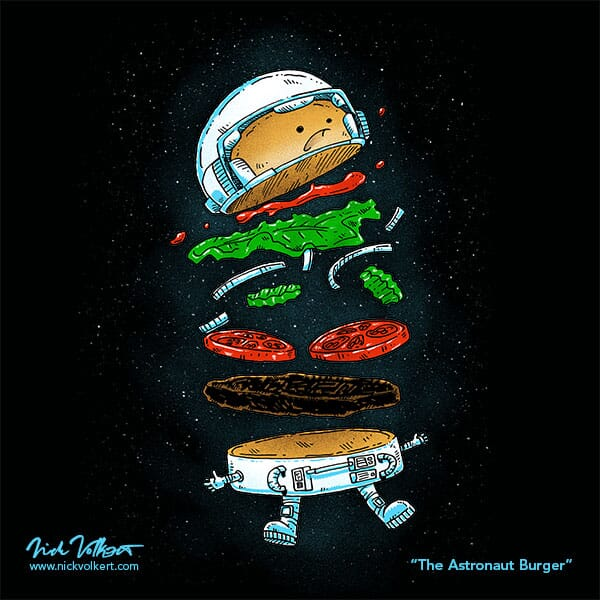 An astronaut burger is falling apart in outerspace.