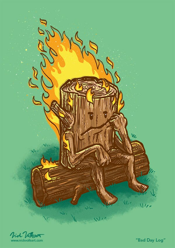 A log resting on a log covered in flames, clearly not having a good day.