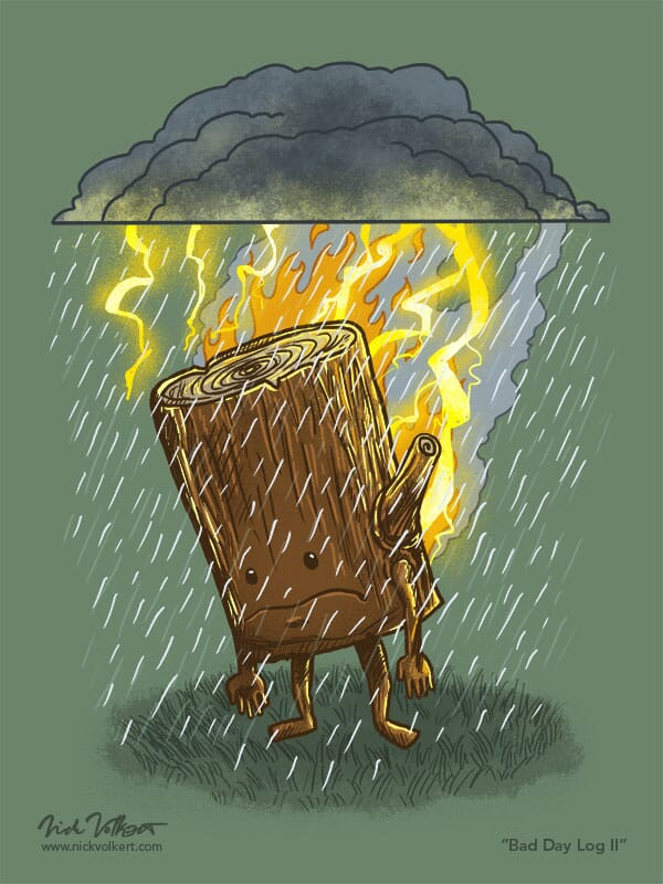 A log getting rained on, while on fair, under a thunderstorm cloud, clearly not having a good day.