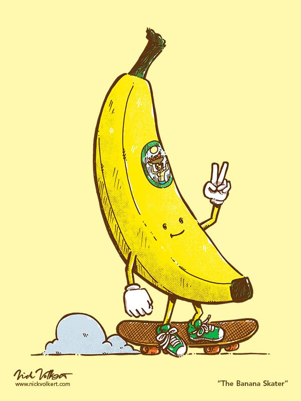 A cool banana skates on a skateboard while showing a peace gesture
