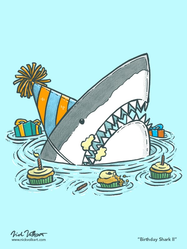 A shark emerges from the water with a half eaten cupcake, frosting on its face, and presents in the background.