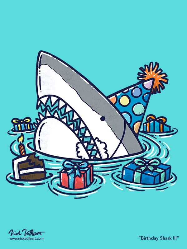 A shark enjoying a birthday party in the water.