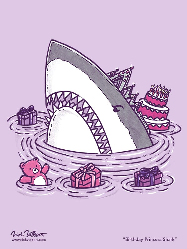 A shark emerges from the water with a tiara, presents and a bad attitude.