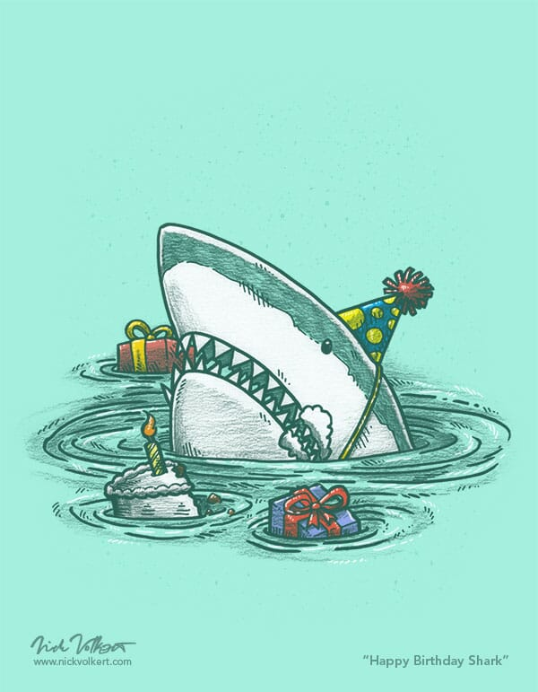 A shark popping out of the water with a cake and presents, frosting on its face.