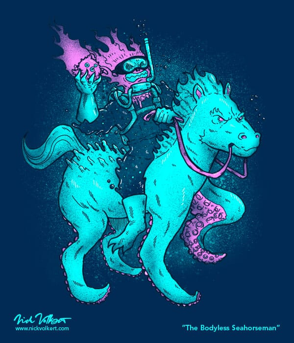A horseman that only has a head and water for a body, rides a horse with octopus tentacles.