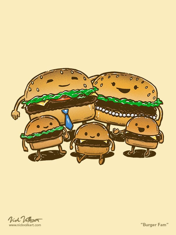 An family of burgers pose as a family with the mom and dad burger and their three slider burger sons.