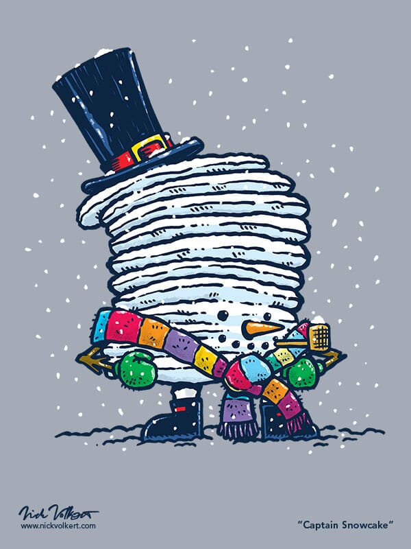 Captain Pancake is enjoying the winter with a straw pipe, top hat, scarf and snowy body