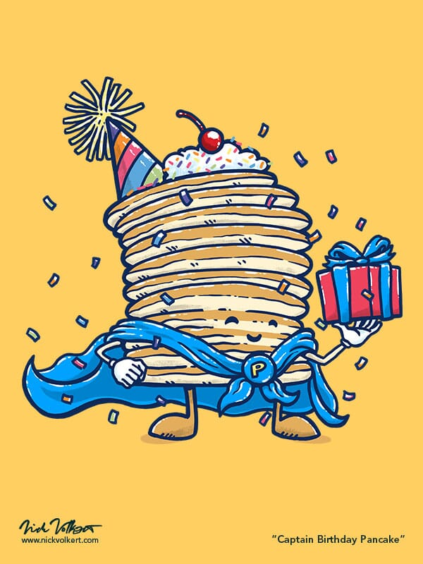 Captain Pancake is celebrating your birthday while holding a present and surrounded by confetti falling down