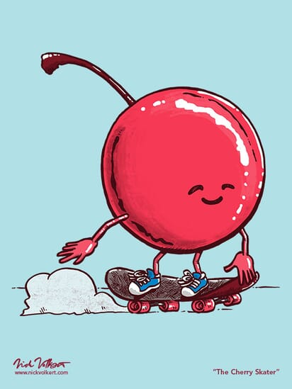A cherry cruises by on a skateboard.