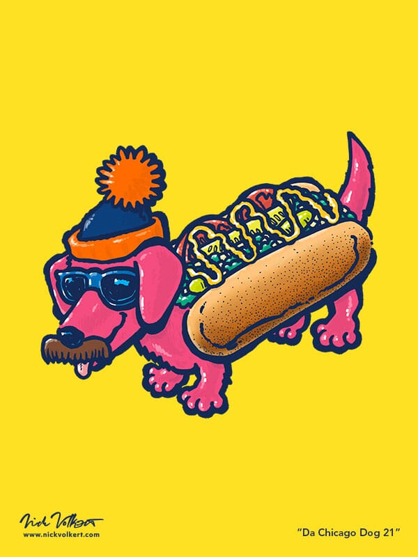 A dachshund dressed in a chicago-style hot dog costume with sunglasses, mustached and a stocking cap.
