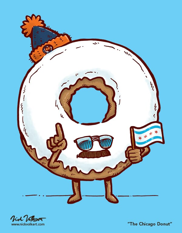A donut with aviator sunglasses, a mustache and a Chicago city flag.