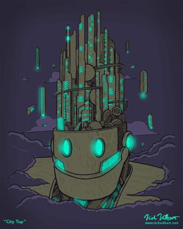 A giant robot with skyscrapers coming out of its head peaking through the clouds.