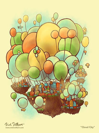A sunny city that is suspended in the air by balloons.