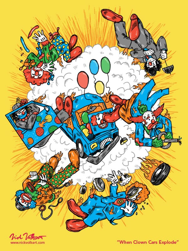 A car full of clowns explodes ejecting the clowns into the air.