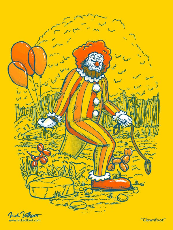 What if the big feet of Bigfoot were actually clown shoes? This illustraiton is that