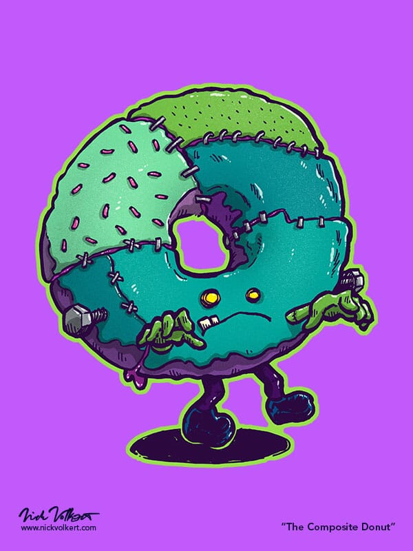 A donut made up of pieces of other donuts that resembles Frankensteins monster