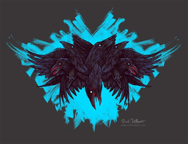 A crow with four wings and multiple heads against a teal brush stroke background, illustrated in a scary manner