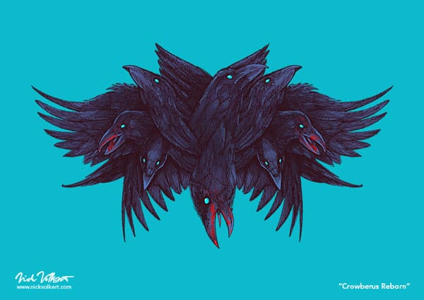 A crow with multiple heads and wings is covered in blood.