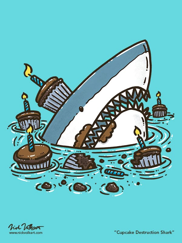 A shark in water surrounded by chocolate cupcakes.