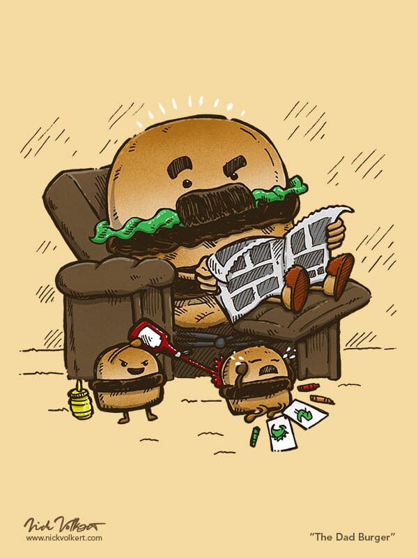 A dad hamburger looks on as his slider children pick on each other.