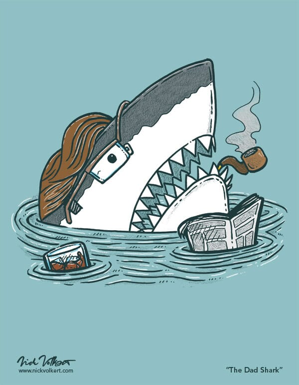 A dad shark pops out of the water with a pipe and a glass of whiskey.