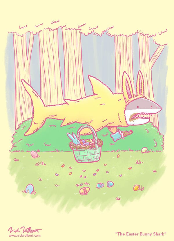 A shark floating in a Spring forest scene eats a chocolate bunny while toting a Easter basket