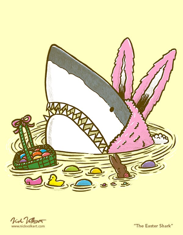 A shark dressed as the Easter Bunny pops out of the water with a basket of candy.