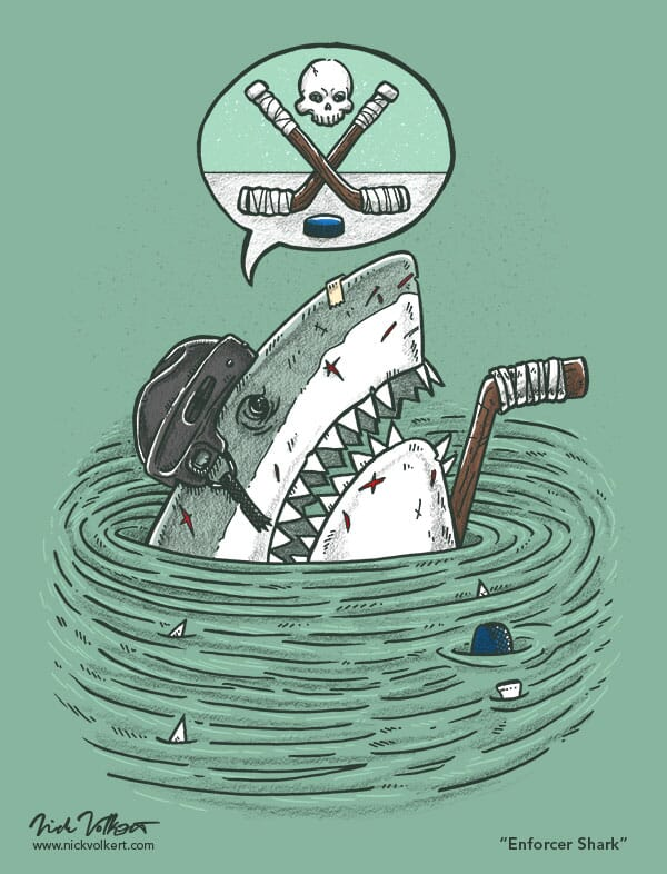 A great white shark peeks out of the water all beat up from being a hockey goon.