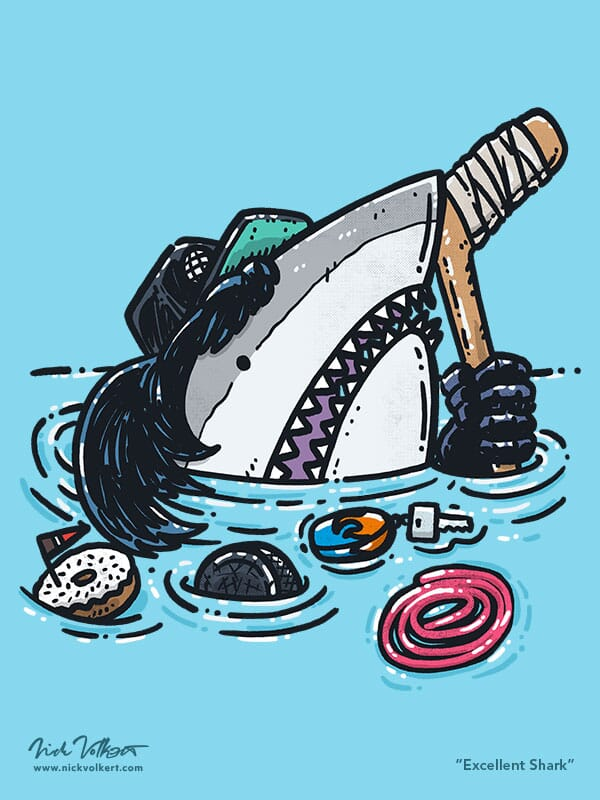 A shark peaks out of the water with a black trucker hat over a mullet, hockey stick and rope licorice.