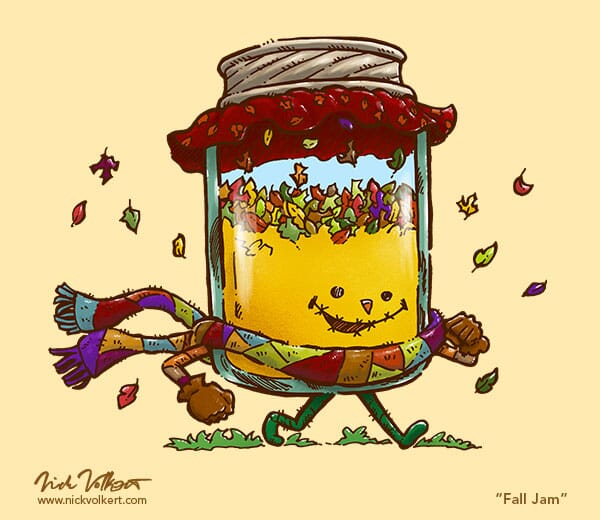A jar dressed as a scarecrow carries around a bunch of fallen leaves.