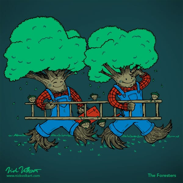 A pair of trees head back after a hard day on the job.