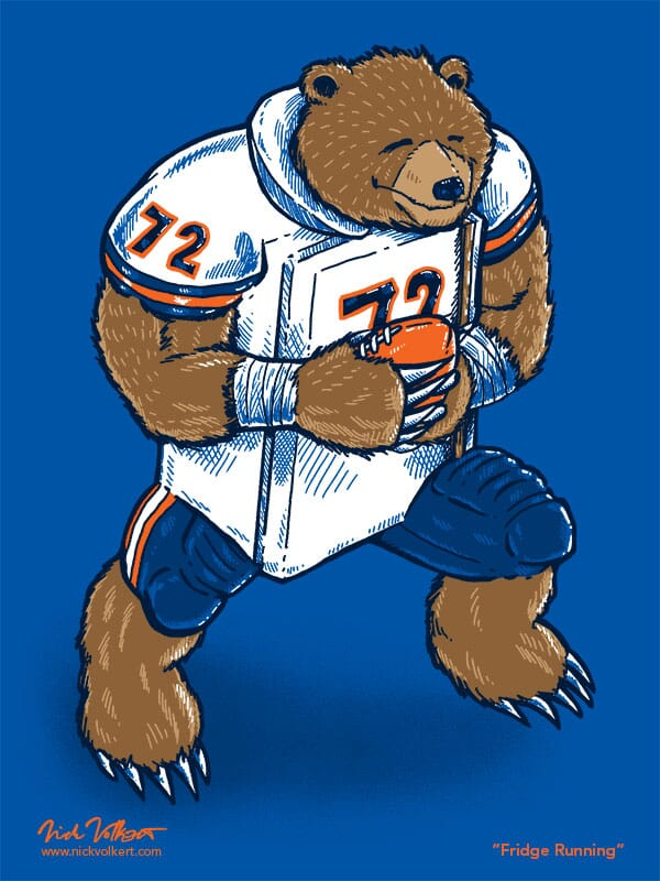 A grizzly bear running with a football and a white Chicago Bears jersey with the number 72.