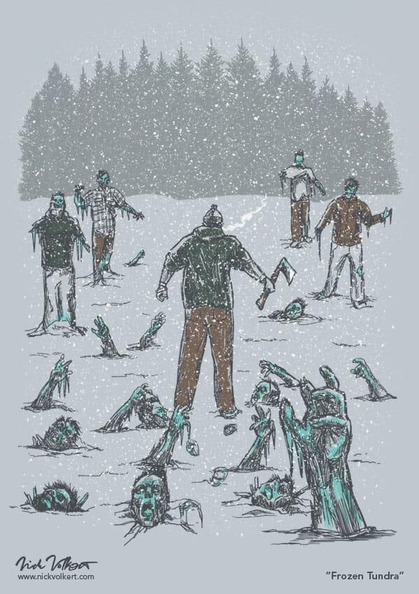 An underdressed man walking through a field of frozen zombies during a snowstorm.