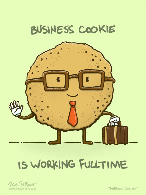 A cookie with glasses and a briefcase gets ready for full time employment.