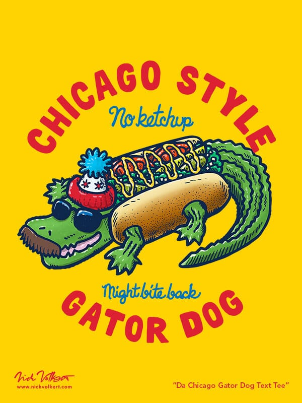 A gator wearing a chicago-style hot dog costume with sunglasses and a mustache, with the text chicago style gator dog.