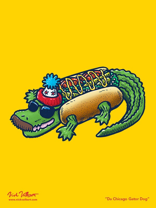 A gator wearing a chicago-style hot dog costume with sunglasses and a mustache.