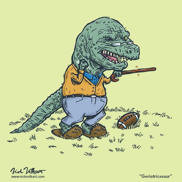 An old dinosaur is scolding younger dinosaurs with his outreached cane.