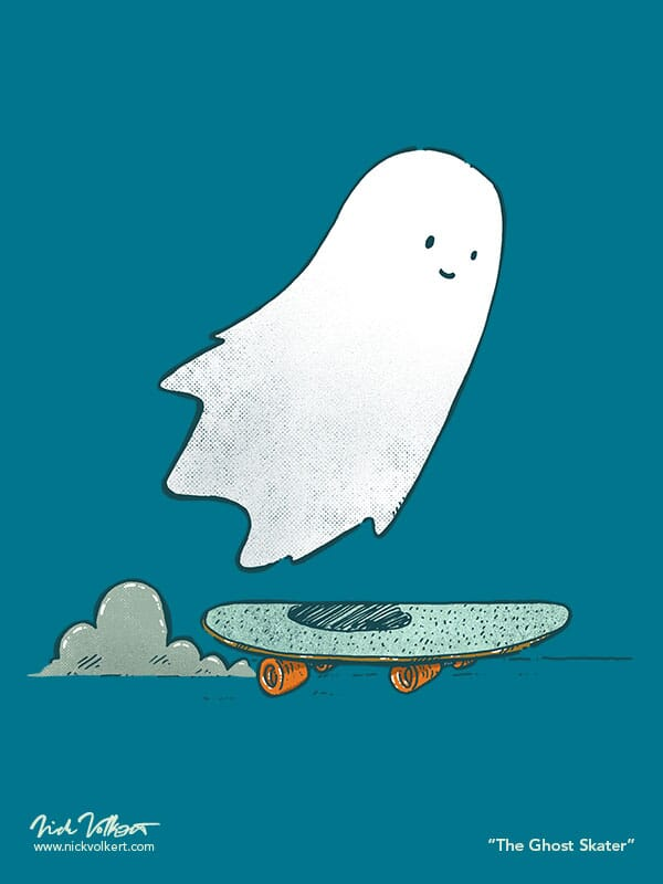 A happy ghost floats above a skateboard