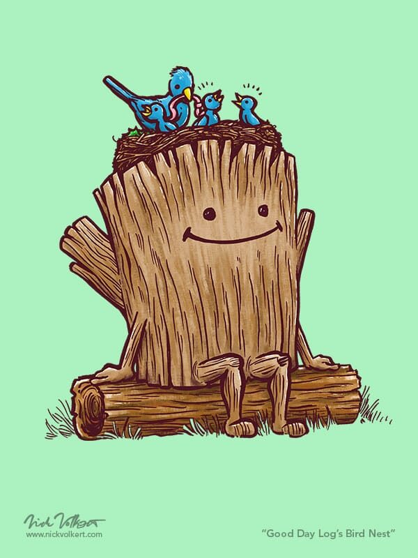 A little log has a next of birds resting on his head.