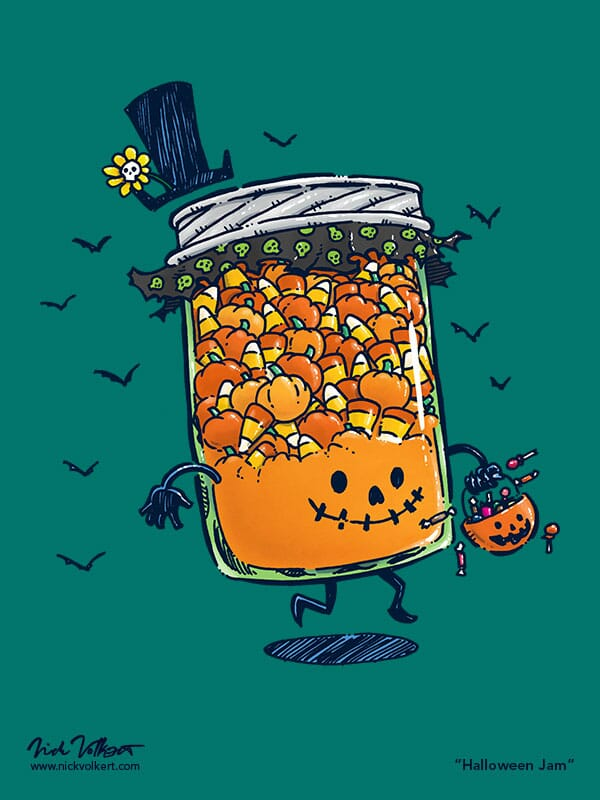 A jar of jam dressed in the theme of Halloween with candy corn contents and a jack o'lantern face.
