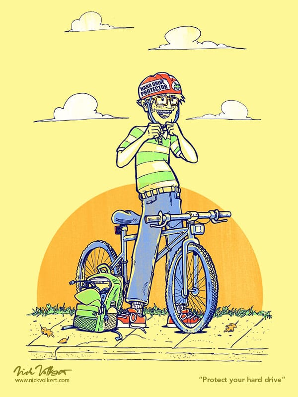 A kid with glasses, braces and a tote bag full of computer stuff puts on a helmet before riding a mountain bike.