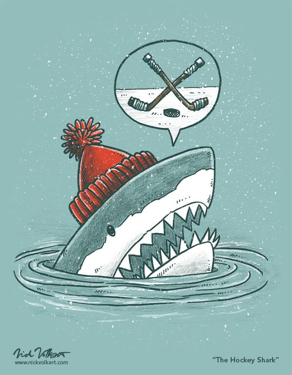 A shark pops out of the water with a speech caption that has two hockey sticks crossing above a puck.