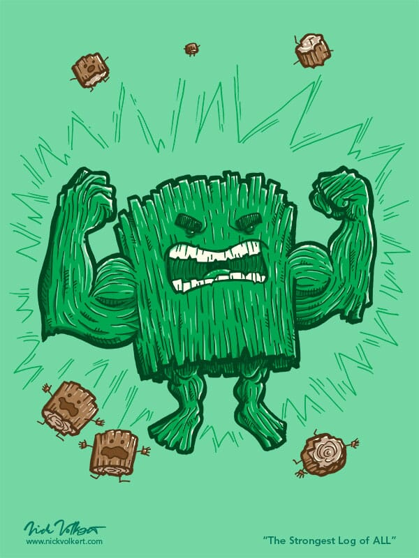 A large green log dominates other small logs with an explosion of strength.
