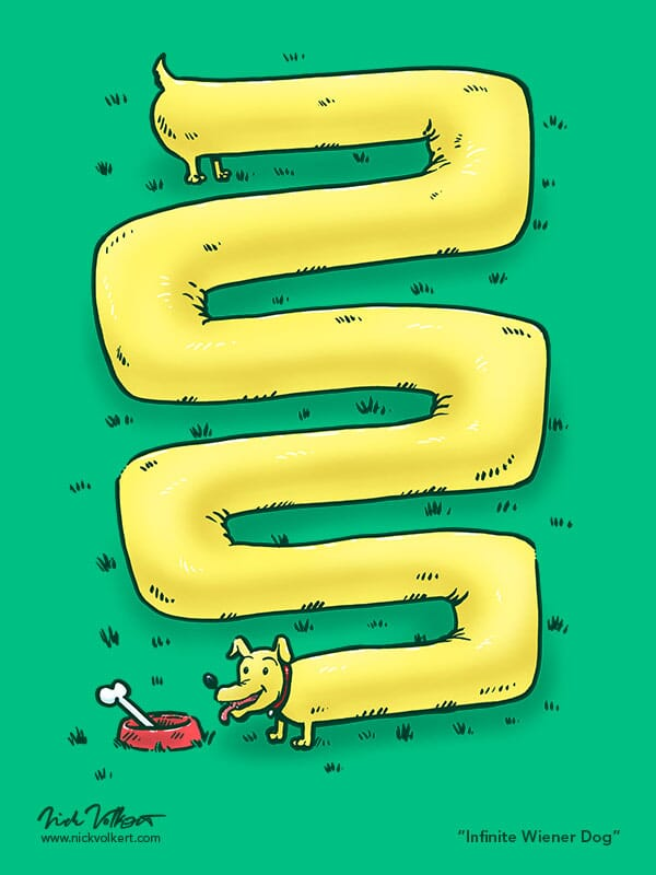 An elongated weiner dog winds along a lawn to its bowl and bone.