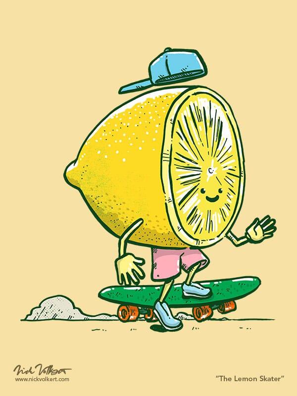 A lemon with a ball cap on backwards skates on a skate deck.